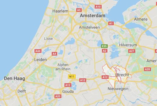 Lageplan von Utrecht in Holland.
