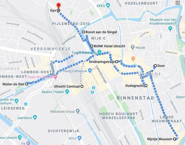 Auf dieser Karte siehst du, welche ich in Utrecht besucht habe.